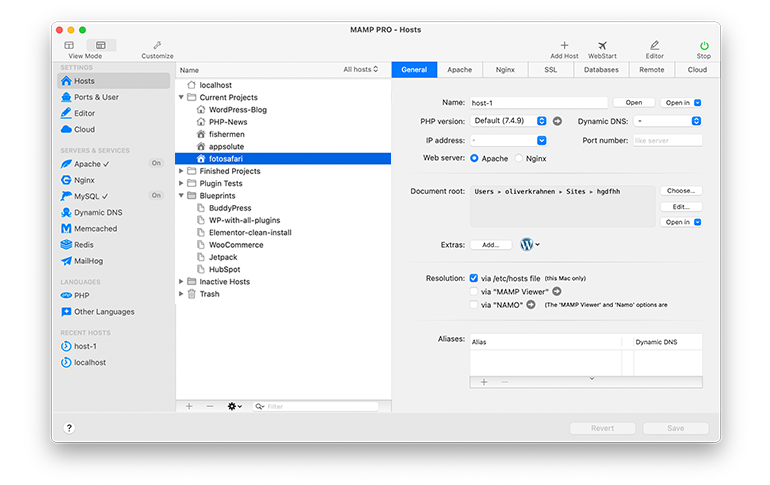 MAMP PRO for macOS and Windows