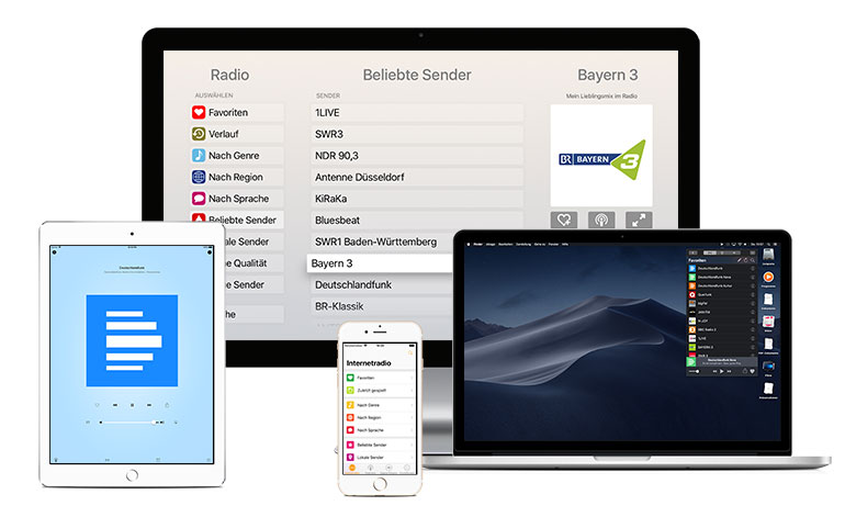 Receiver runs on different devices like Mac, Apple TV, fireTV, Android, iPhone and iPad